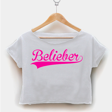 Belieber font pink crop shirt women clothing by fashionveroshop