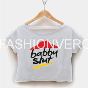 Babby slut pizza crop shirt graphic print tee for women size S,M,L,XL,2XL