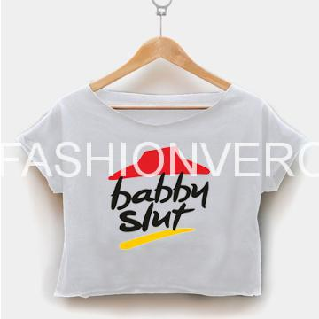 Babby slut pizza crop shirt graphic print tee for women