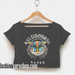 alice in wonderland crop shirt women