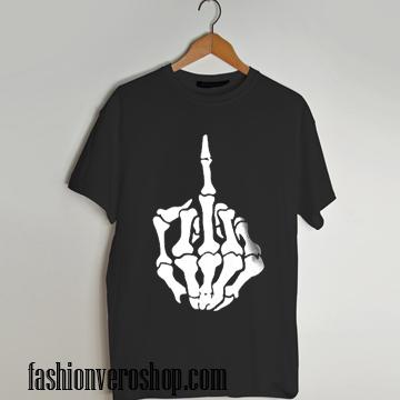 skull middle finger shirt T shirt