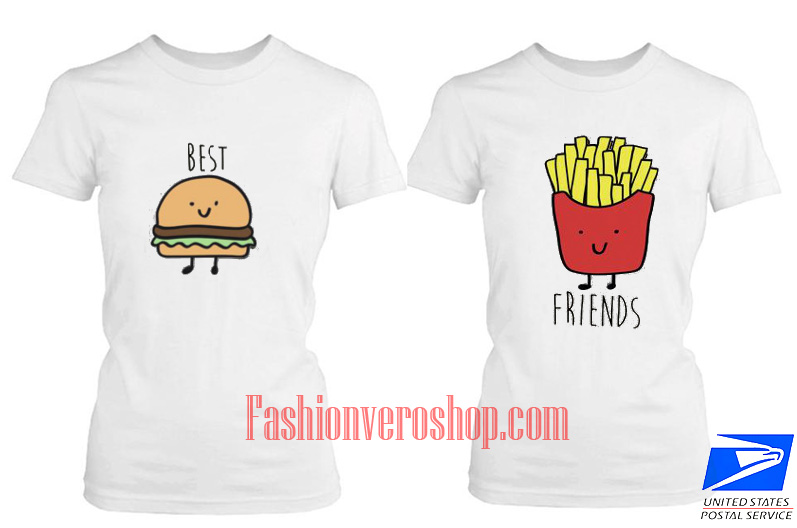 French fries friends BFF Couple T Shirt women