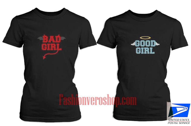Good Girl Bad Girl BFF Couple T Shirt women