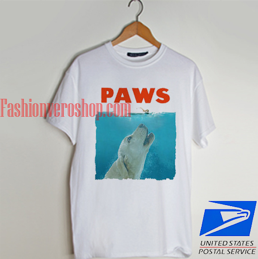 PAWS a parody of the 1975 movie JAWS T shirt