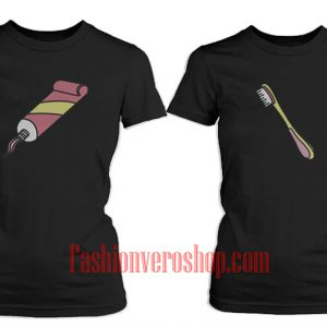 Toothpaste and Toothbrush BFF Couple T-Shirt women