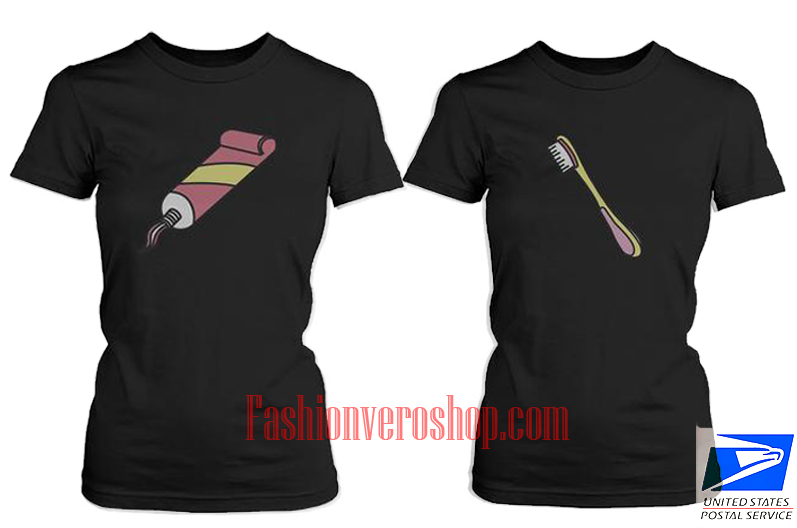 Toothpaste and Toothbrush BFF Couple T Shirt women