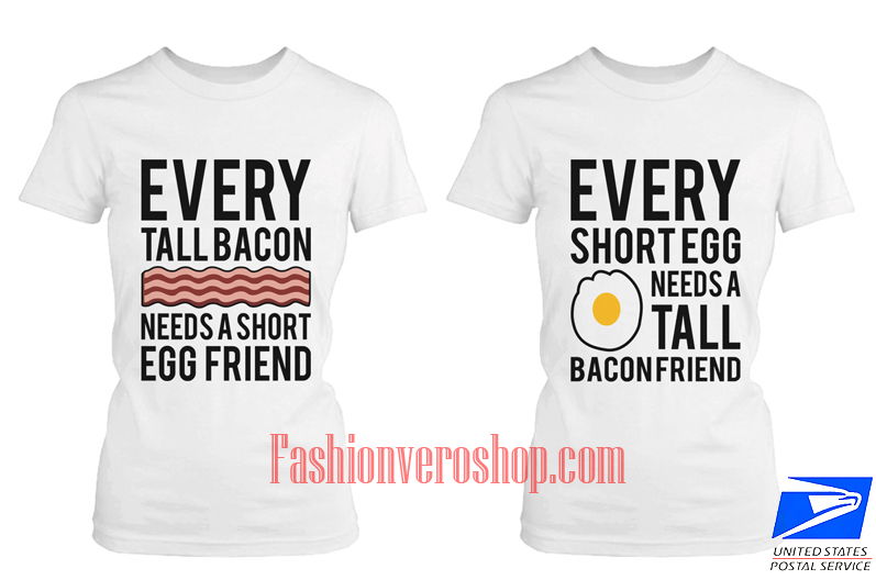 bacon and egg BFF Couple T Shirt women