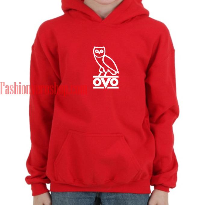 Ovo Logo Drake red hoodie