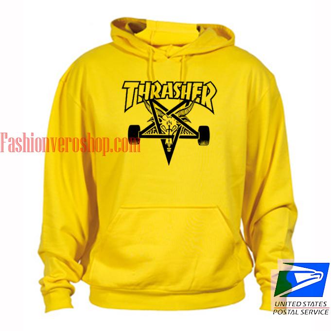Thrasher logo Skateboards Yellow hoodie