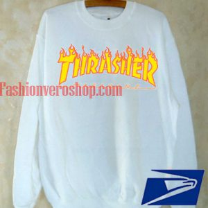Thrasher Fire Magazine White Sweatshirt