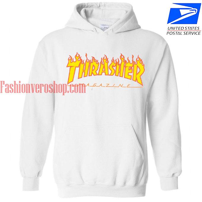 Thrasher Fire Magazine White HOODIE