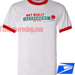 Unisex ringer tshirt - Lazy Oaf Not Really Listening