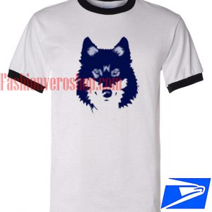 Unisex ringer tshirt - Blue Wolf