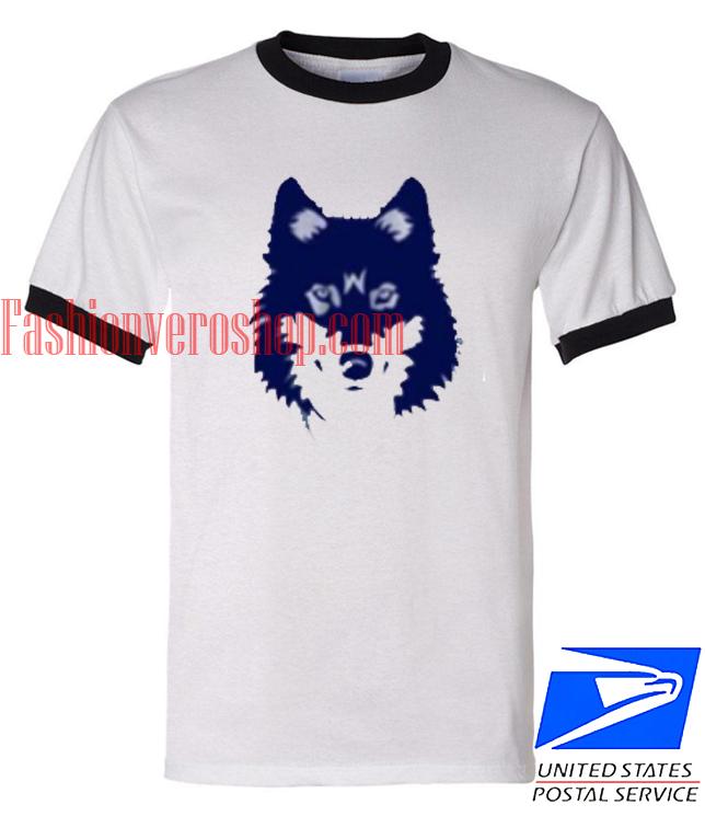 Unisex ringer tshirt Blue Wolf
