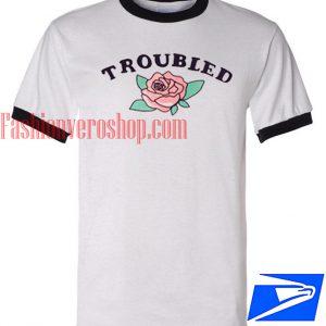 Unisex ringer tshirt - Troubled Rose
