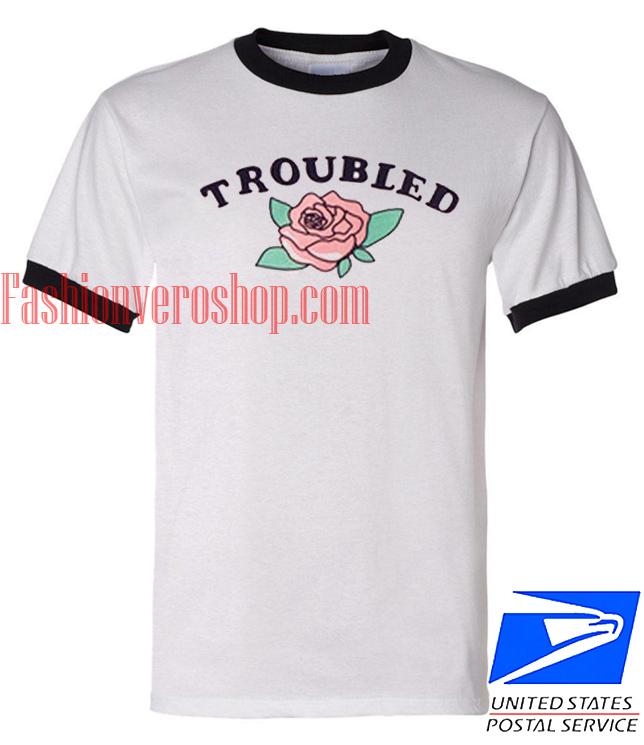 Unisex ringer tshirt Troubled Rose