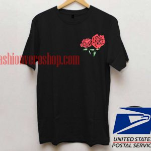 Twin red Rose Pocket Unisex adult T shirt
