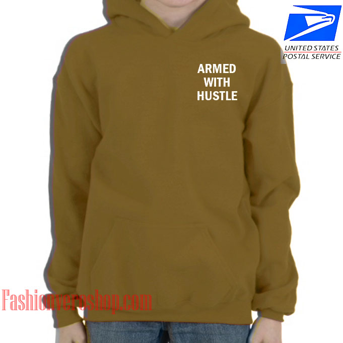 Armed With Hustle Yellow Brown HOODIE - Unisex Adult Clothing