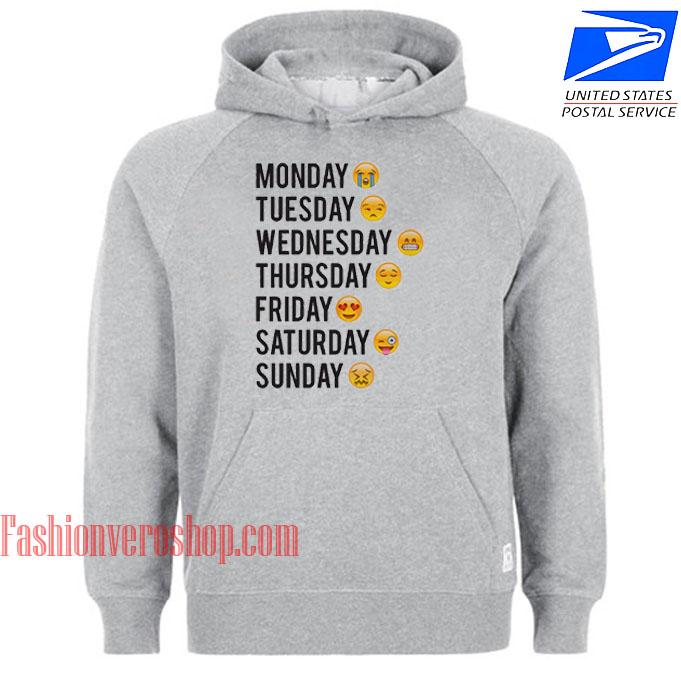 One Week Emoji HOODIE - Unisex Adult Clothing