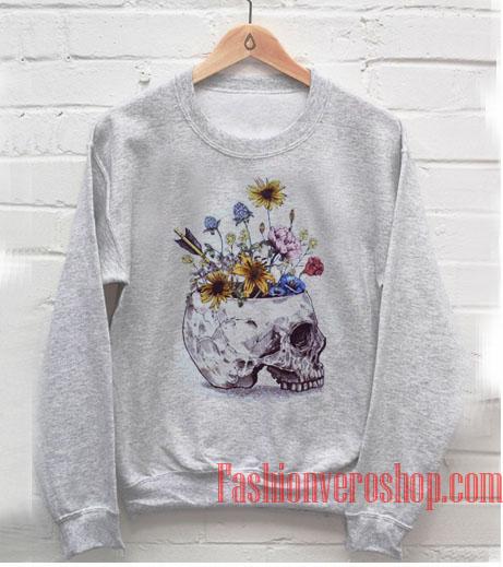 Skull With Flowers Sweatshirt
