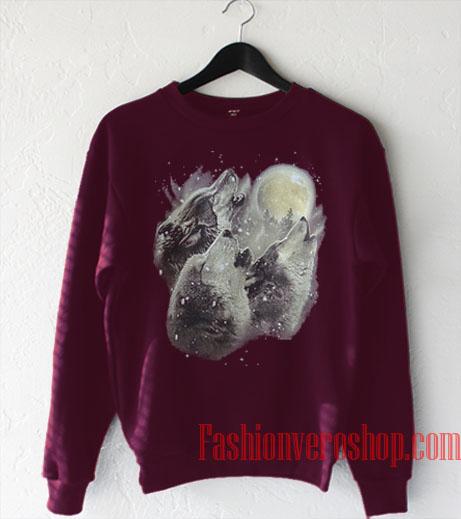Three Wolves and Moon Sweatshirt