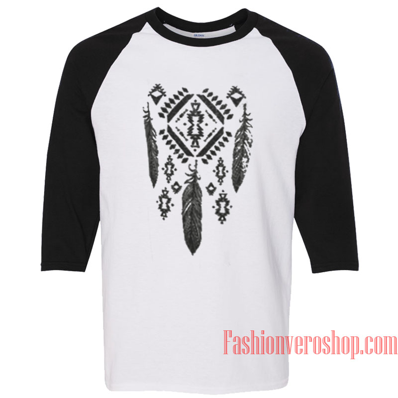 Aztec Feather Raglan Unisex Shirt