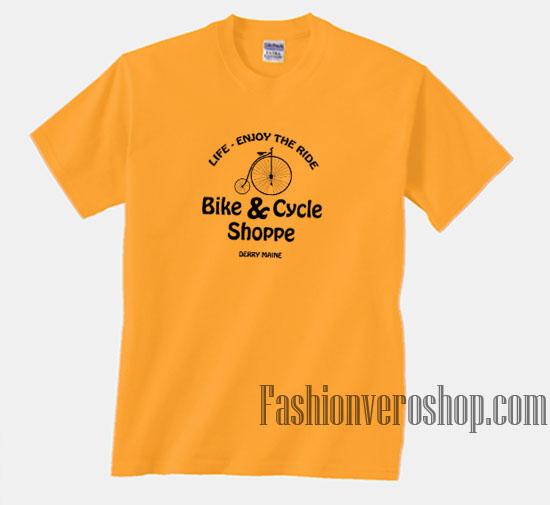 Enjoy the ride bike and cycle shoppe unisex adult t shirt for Bike and cycle shoppe shirt
