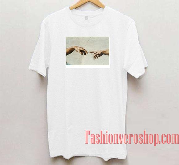 2b211e43 Michelangelo Hands of Adam and God Unisex adult T shirt