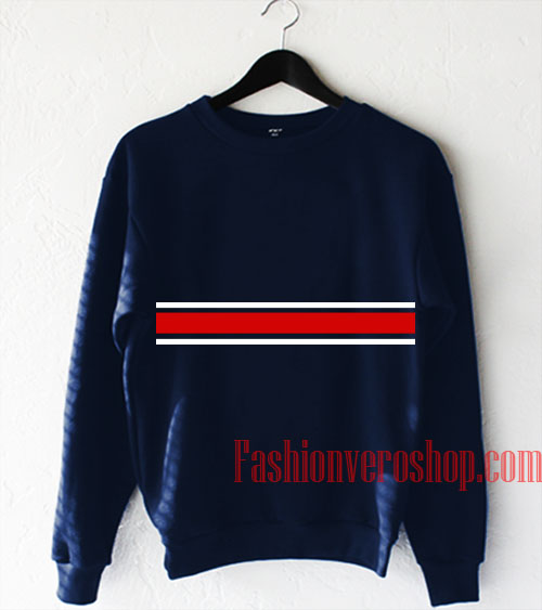Red and White Stripe Sweatshirt