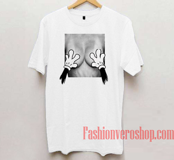 Mickey Mouse Hands Over Breast Unisex adult T shirt