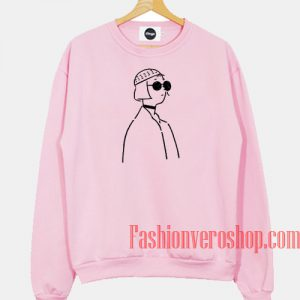 Aesthetic Line Art Light Pink Sweatshirt