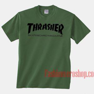 Thrasher Skateboard Magazine Green Unisex adult T shirt