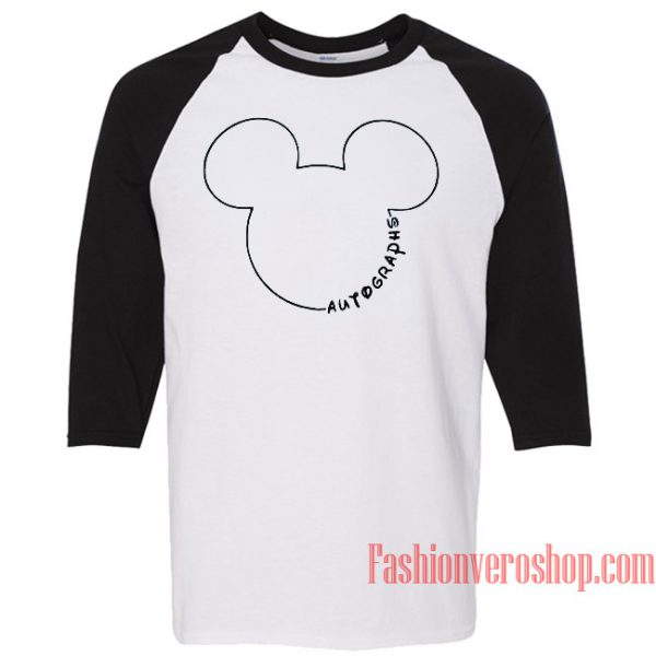 Mickey Mouse Autographs Raglan Unisex Shirt