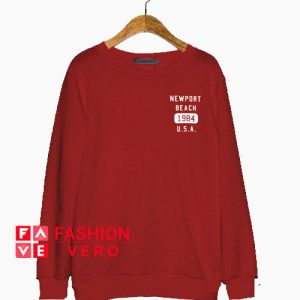 Newport Beach 1984 USA Maroon Sweatshirt
