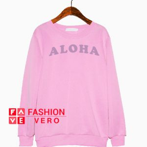 Aloha Print Light Pink Sweatshirt