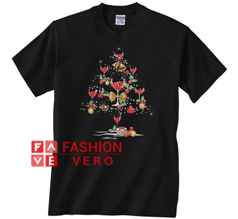 Wine Christmas Tree Shirt.Wine Glass Christmas Tree Unisex Adult T Shirt