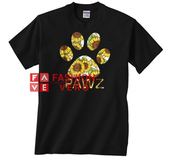Dog pawz sunflower Unisex adult T shirt