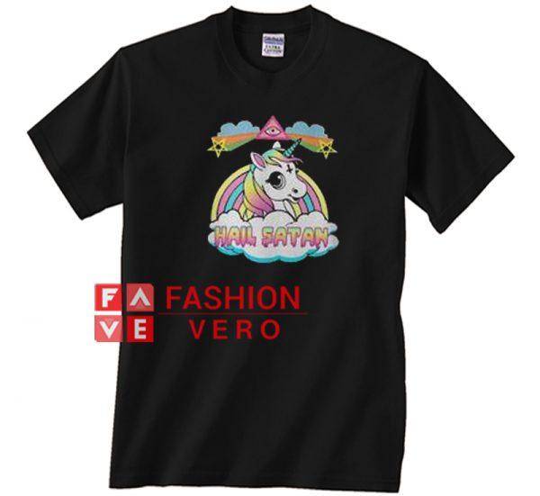 Unicorn hail satan death metal rainbown Unisex adult T shirt