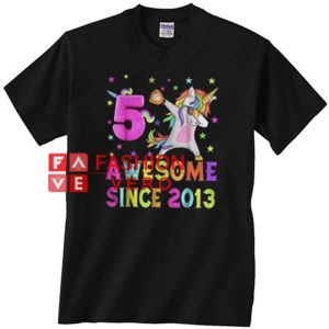 5 and awesome unicorn dabbing 5th B-day Unisex adult T shirt