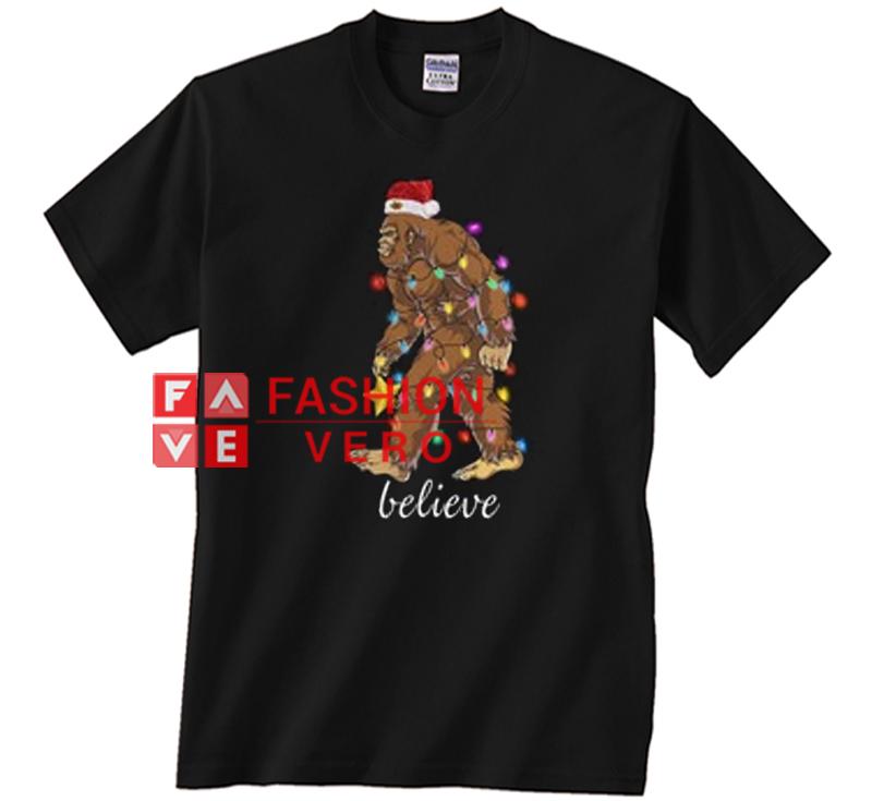 ffd7e62b07 Bigfoot Santa believe Christmas Unisex adult T shirt