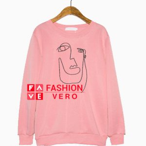 Abstract Face Light Pink Sweatshirt