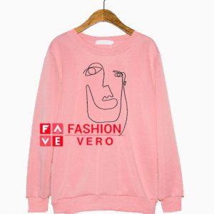Abstract Face Light Pink Sweatshirt
