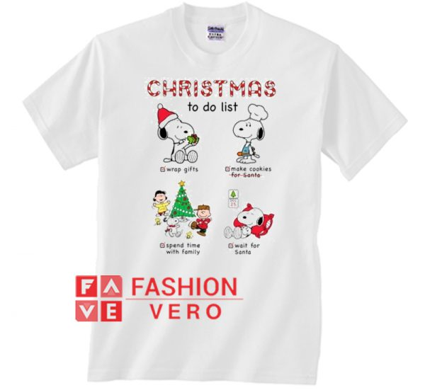 Christmas to do list snoopy Unisex adult T shirt