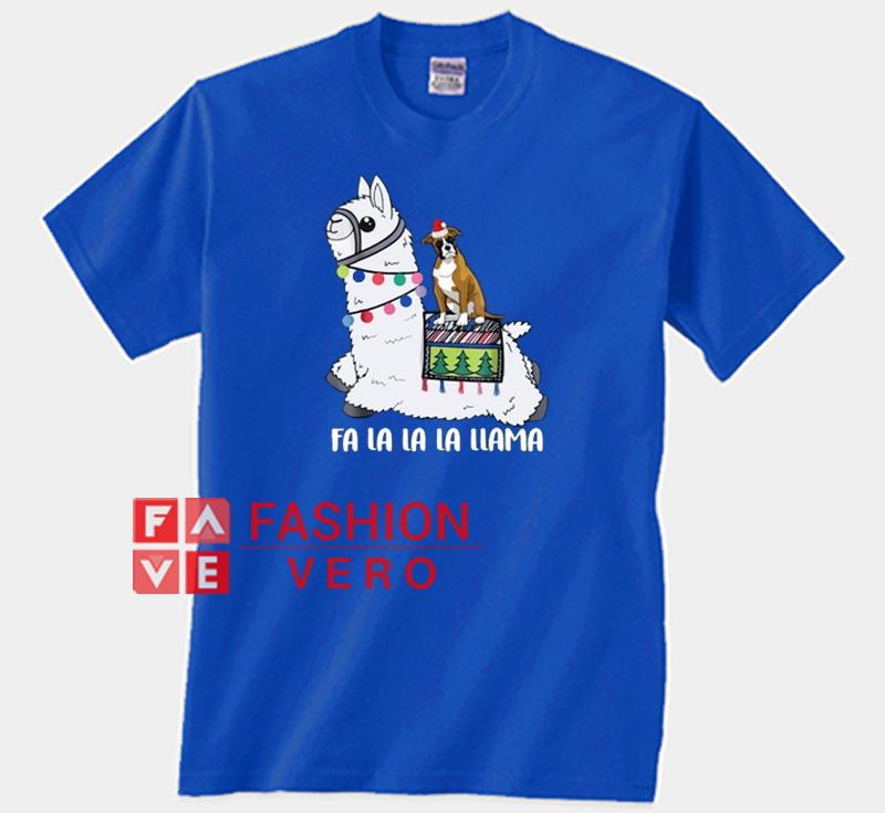 Fa La La La Llama And Boxer Dog Christmas Unisex Adult T Shirt