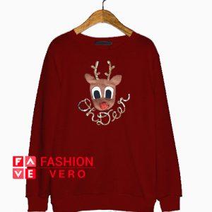 Oh Deer Print Maroon Sweatshirt