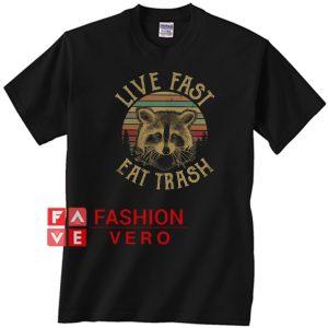 Vintage Raccoon live fast eat trash Unisex adult T shirt