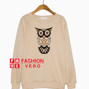 Owl Print Cream Color Sweatshirt