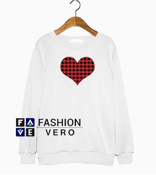 Valentines Buffalo Plaid Hear Sweatshirt