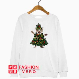 Pretty Cat Pine Christmas Tree Sweatshirt