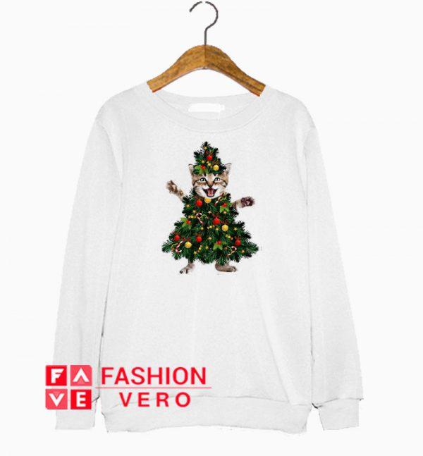 Pretty Cat Pine Christmas Tree Sweatshirt